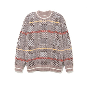 PATTERN CREW NECK KNIT / BROWN (21A-NSA-KN-05)