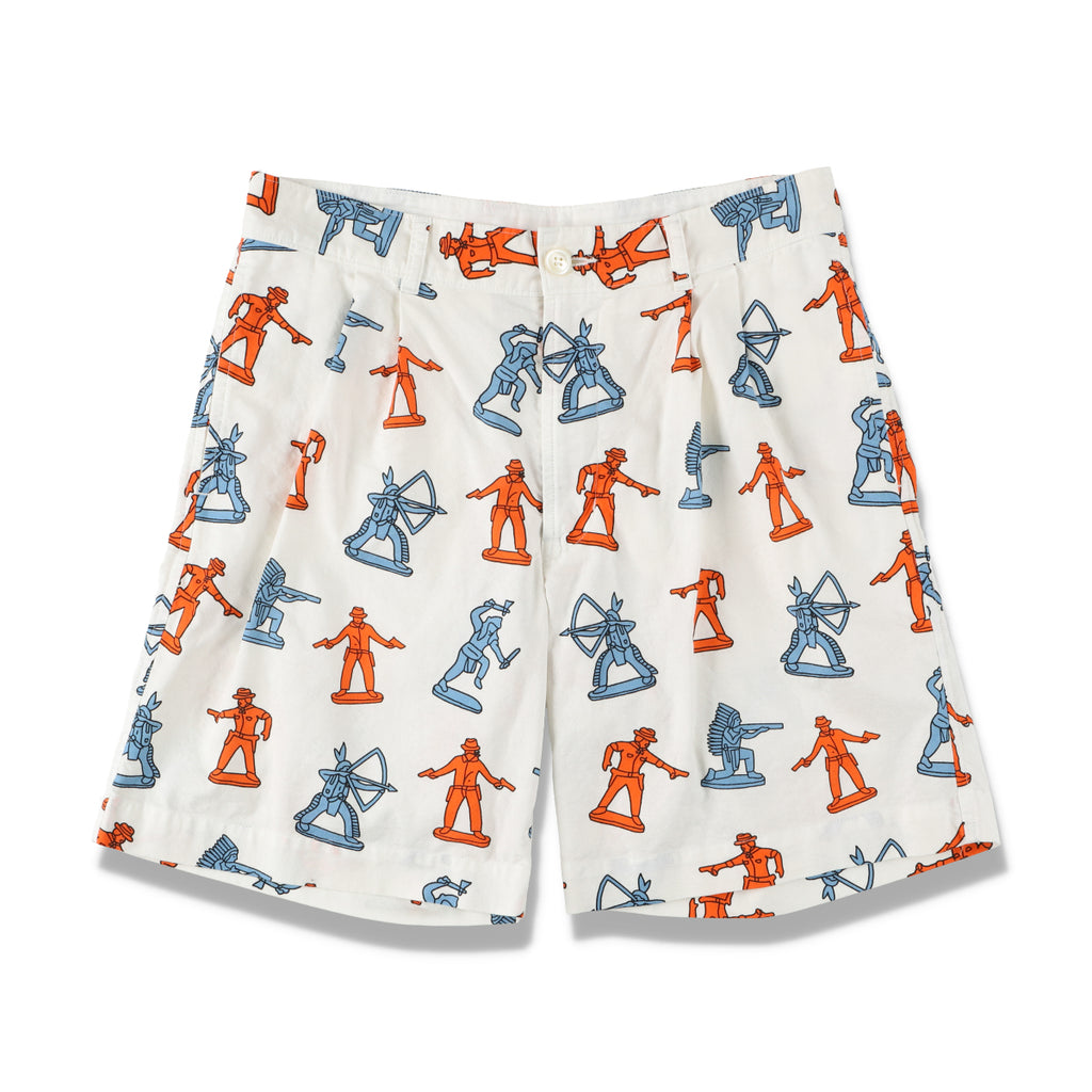 INDIAN COWBOY PRINTED SHORTS  / WHITE (21S-NSA-PT-09)