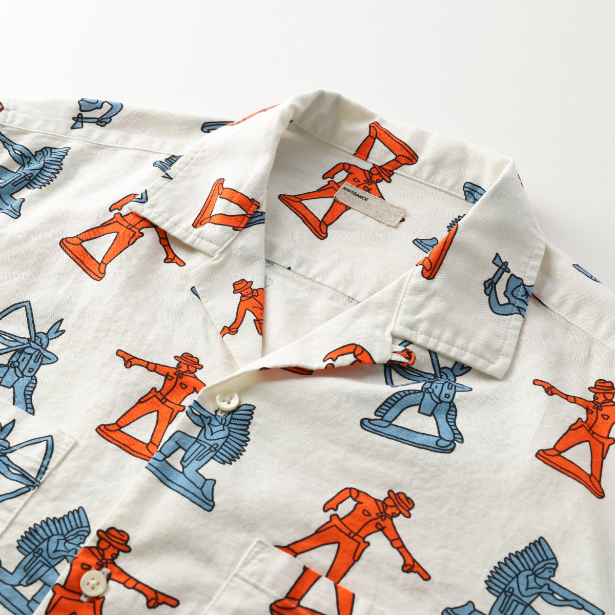 INDIAN COWBOY PRINT HS SHIRT / WHITE (21S-NSA-SH-06)