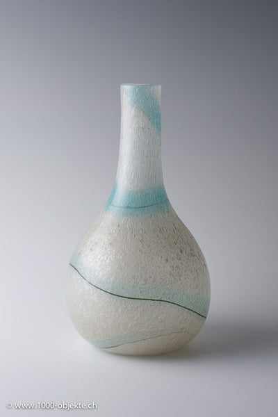 Murano pullegoso Vase with turquoise ribbon and line for A.ve.M. ca. 1950-1955