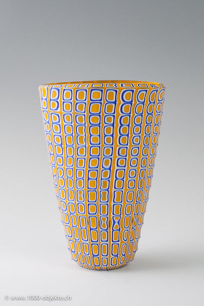"Massimiliano Pagnin ""BIBE"" vase white yellow blue, 2002, signed"