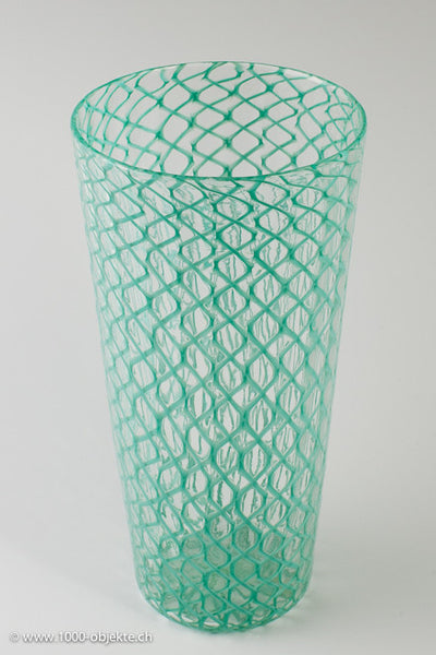 Zanfirico art glass vase designed by Paolo Venini for Venini