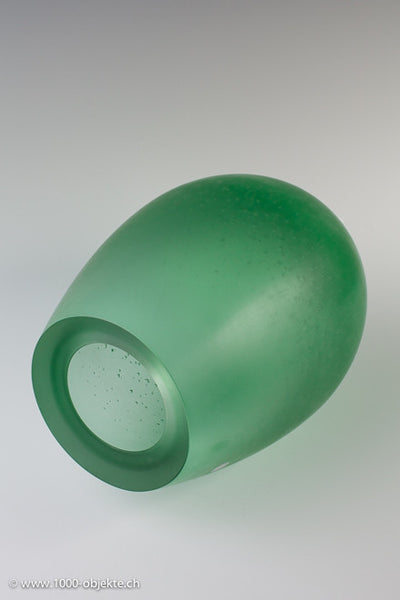 "Murano Vase ""Bulicante"" green by Giorgio Vigna for Venini"