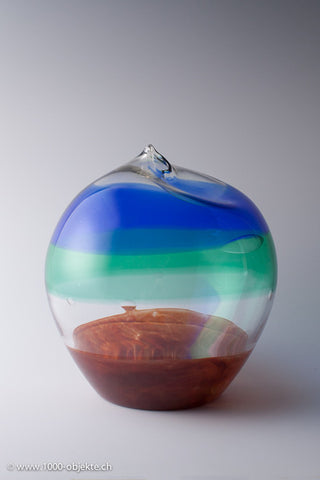 Egg shaped Murano glass vase with incalmo bands around 1980