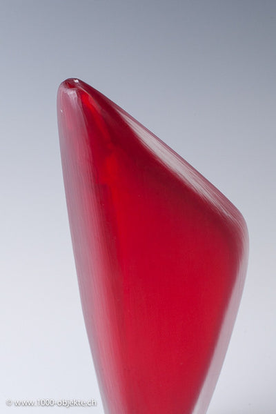 Red battuto vase by A. Barbini / N. Martinuzzi, signed