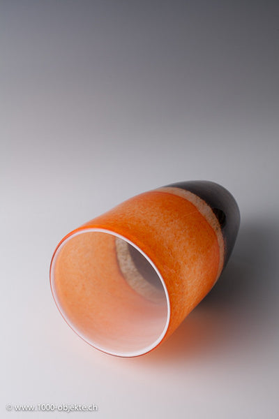 Eli Vetri d'Arte, Murano. Colorless glass with inner cased in orange, 60's