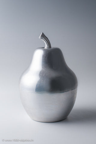 Pear ice bucket polished metal