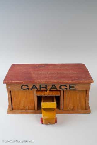 Finely carved Vintage Swiss Toy Garage / Cars