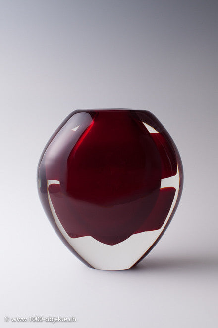 Vintage Murano Glass Vase With Red Stripes 1980s 1000 Objekte