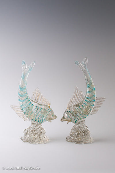 Pair of fish sculptur with label -  Aureliano Toso 1940.