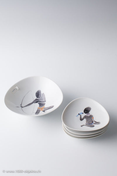 Set of 7 Rosenthal plates/bowls black children, 1950