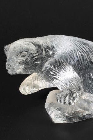 Ferro Murano glass.  Glass bear on rock.