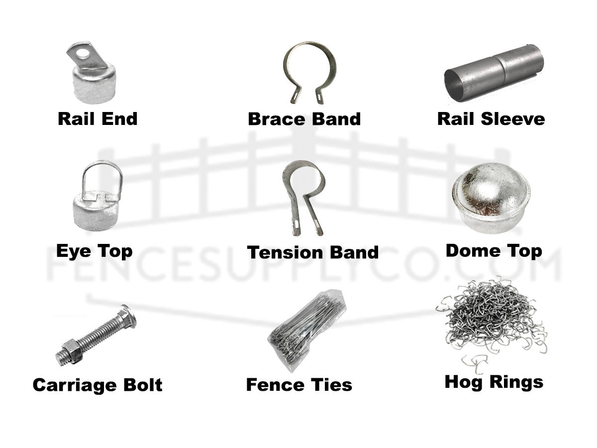 chain link fence parts, fittings, images, and their product titles and names