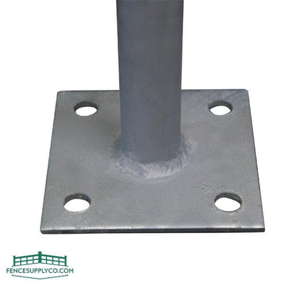 Round Post On Flange Plate - FenceSupplyCo.com