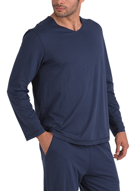 100% Peruvian Pima Cotton Long Sleeve Replenishment V-neck - Navy