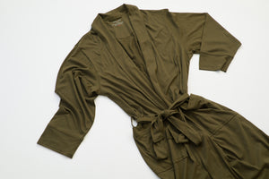 100% Peruvian Pima Cotton Olive Robe