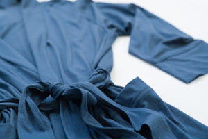 ~NEW~ 100% Peruvian Pima Cotton Denim Blue Robe