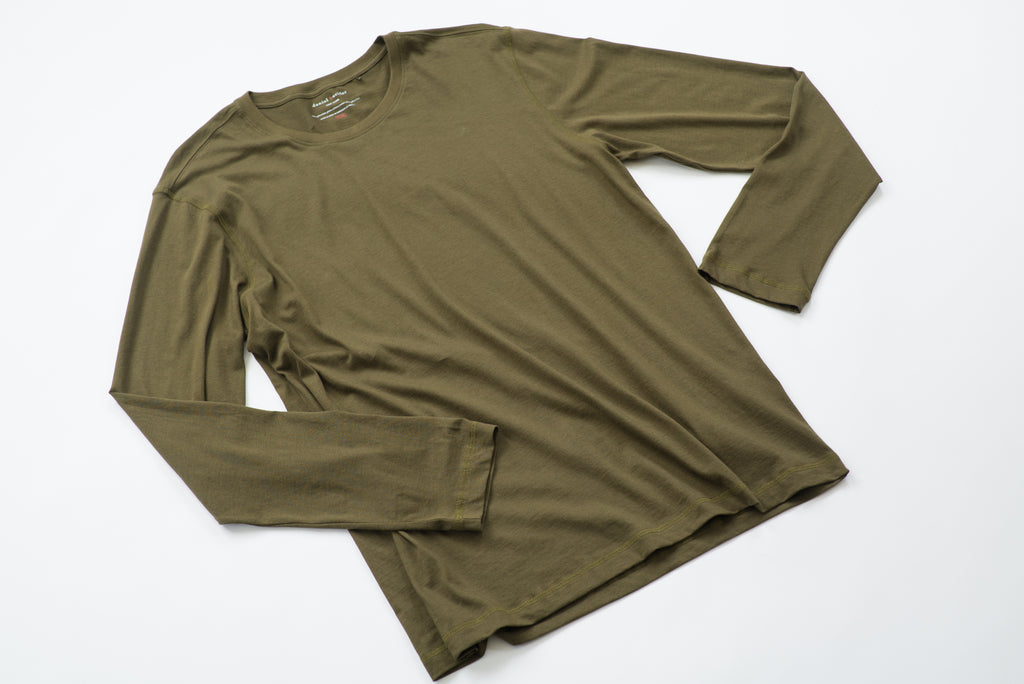 ~NEW~ 100% Peruvian Pima Cotton Olive Long Sleeve