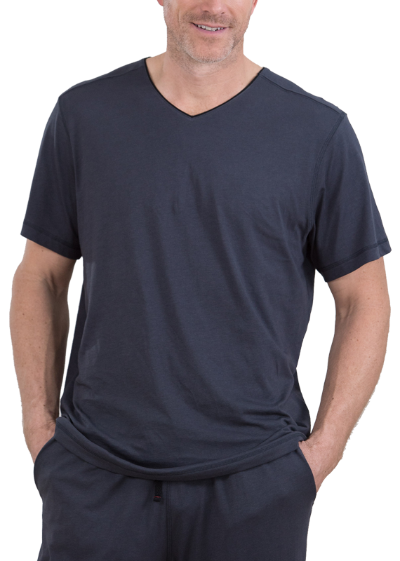 100% Peruvian Pima Cotton Contrast Neckline Replenishment T-Shirt - 3 colors available