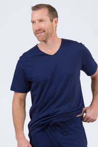 100% Peruvian Pima Cotton Replenishment V-Neck T-shirt - Navy