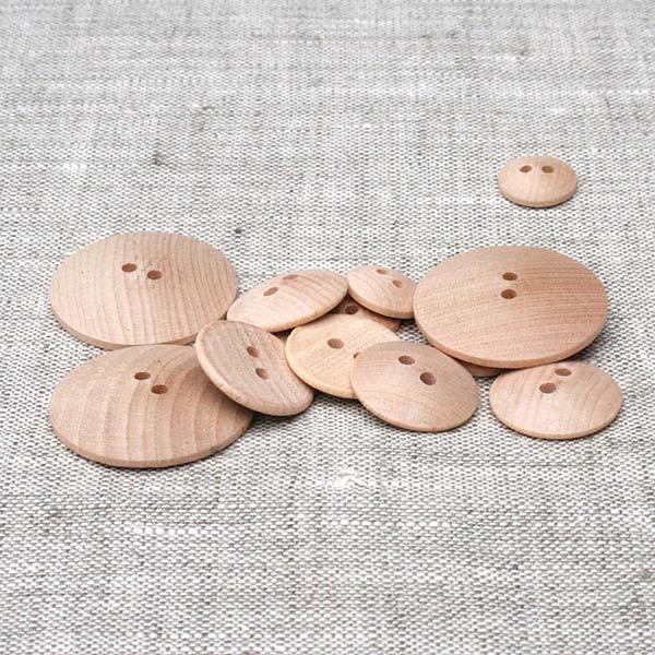 "1-1/8""-Low Dome, Flat Back Button-Natural"