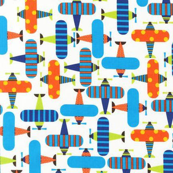 Muslin-Bright Airplane Print