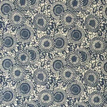 "Hemp/Cotton blend printed Muslin 56""- Zinnia"