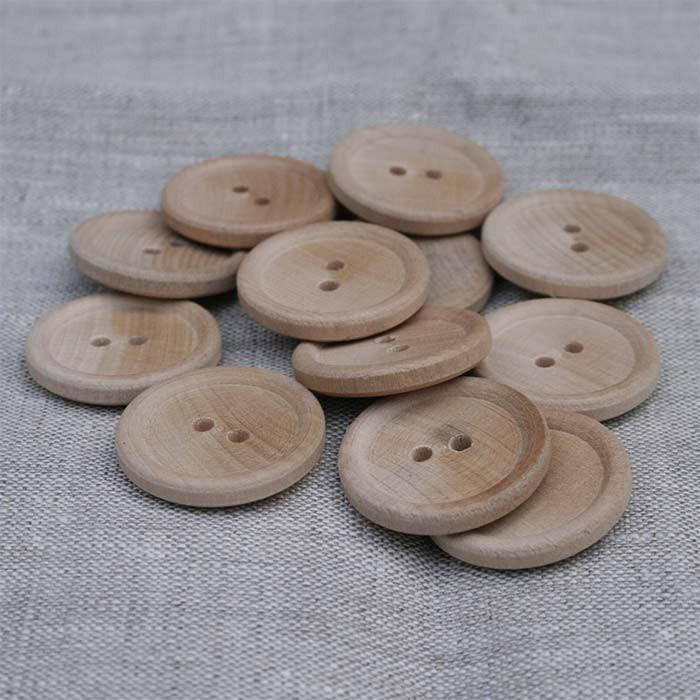 "1-3/8"" Classic English Rim Wood Button-Unfinished-6 Pack"