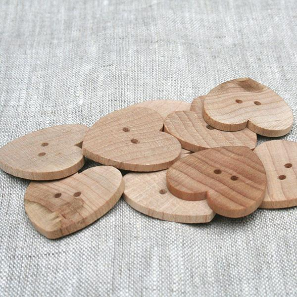 "1/2"" Heart Button-Natural-6 Pack"