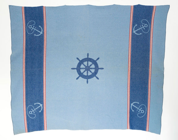 Vintage Abercrombie & Fitch Wool Blanket in Nautical Motif