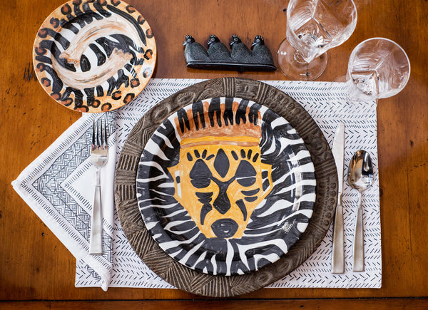 Hand Painted African Dinner Service for Twenty