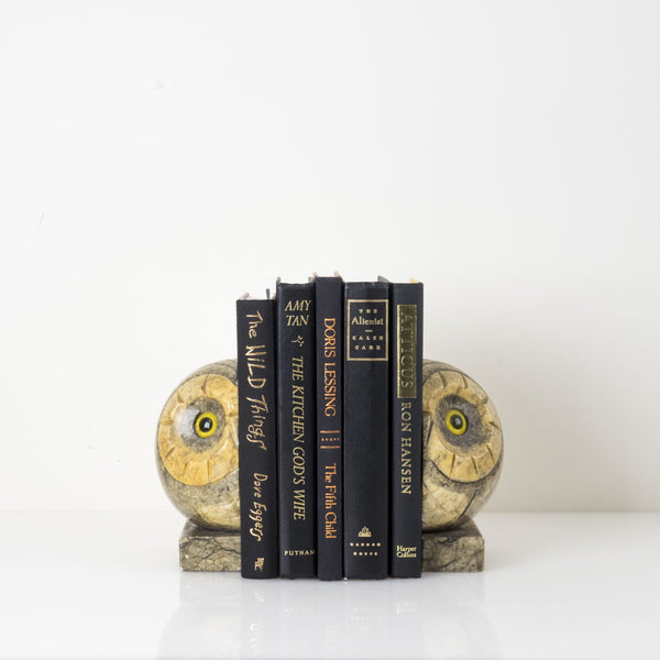 Midcentury Modern Alabaster and Agate Owl Bookends