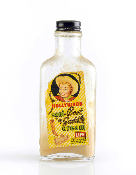 Glass Bottle of Hollywood Sani-Boot 'n Saddle Cream