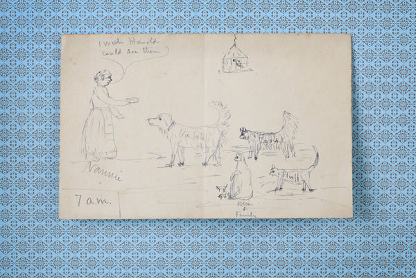 Doodled Drawing of Pets and Loving Owner, 1888