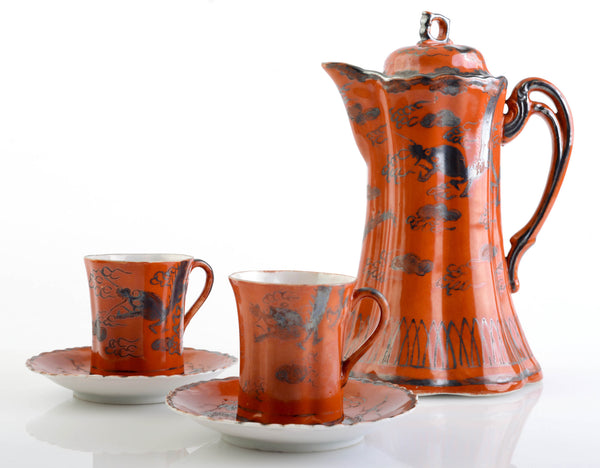 Gorgeous Glazed Chocolate Coffee Pot from Japan