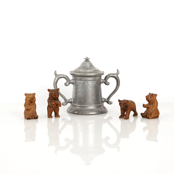Miniature Black Forest Antique Carved Bears in a Stein