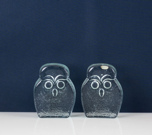 Pair of Blenko Glass Owl Bookends