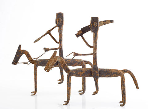 African Dogon Warriors on Horseback in Bronze