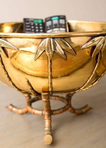Palm Tree Brass Bowl on Stand