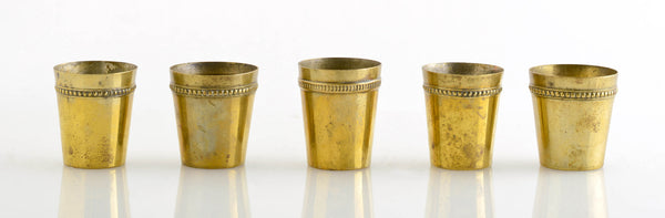 Five Mini Brass Jiggers