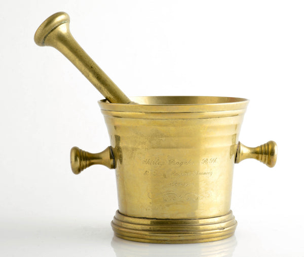 Engraved Brass Mortar & Pestle