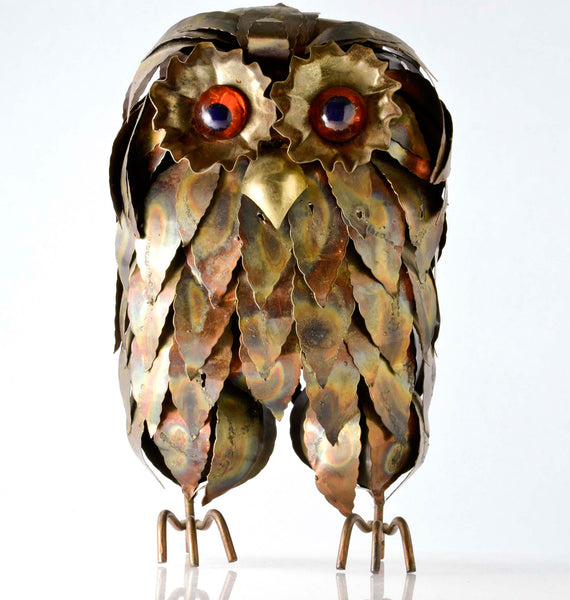 Brutalist Brass Copper Owl with Agate Eyes