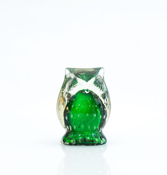 Green Bubble Glass Owl