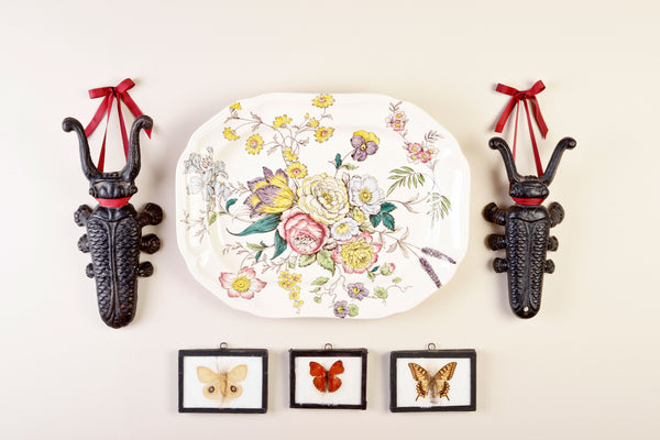 cast iron beetles and preserved butterflies and platter