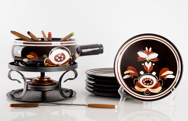 Burkart Handarbeit Hand Painted Ceramic Fondue Set