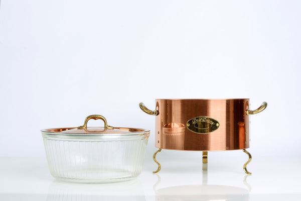Vintage Copper and Brass Casserole Dish with Stand