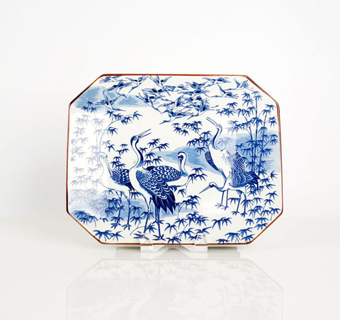 Blue and White Cranes Platter