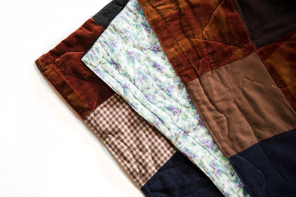 Vintage 1940s Velvet Tweed & Flannel Patchwork Quilt