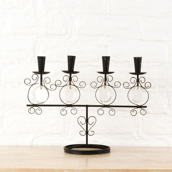 Curlicue Iron and Glass Candelabra