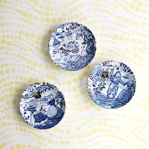 Trio of Delft Blue and White Miniature Plates by E&R Golden Crown Boch Belgium